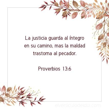 Imagen El versiculo del dia Proverbios 13:6